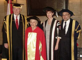 Helen with McGill Chancellor, President, and Deans